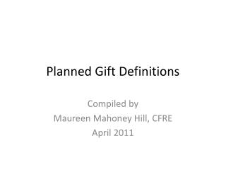 Planned Gift Definitions