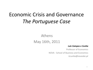Economic Crisis and Governance The Portuguese Case