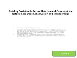 Building Sustainable Farms, Ranches and  Communities Natural Resources Conservation and  Management