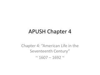 APUSH Chapter 4