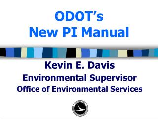 ODOT's New PI Manual