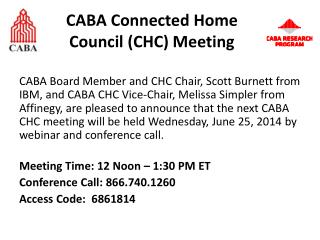 CABA Connected Home Council  (CHC) Meeting
