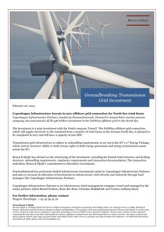 February 20, 2014 Copenhagen Infrastructure invests in new offshore grid connection for North Sea wind farms