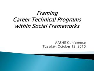 Framing Career Technical  Programs within Social  Frameworks