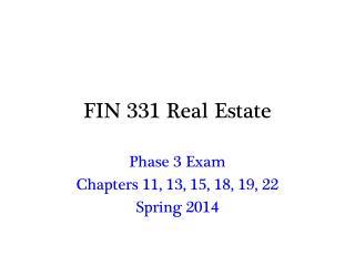 FIN 331 Real Estate