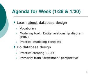 Agenda for Week (1/28 & 1/30)