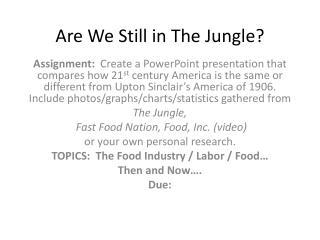 Are We Still in The Jungle?