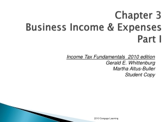 Chapter 3 Business Income & Expenses Part I