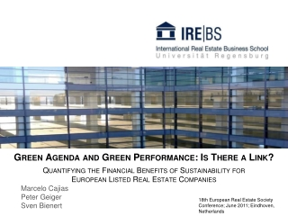 Green Agenda and Green Performance: Is There a Link? Quantifying the Financial Benefits of Sustainability for  European