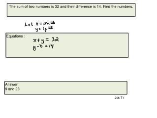 The sum of two numbers is 32 and their difference is 14. Find the numbers.