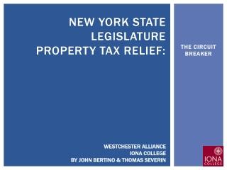 New York state legislature Property TAX relief: