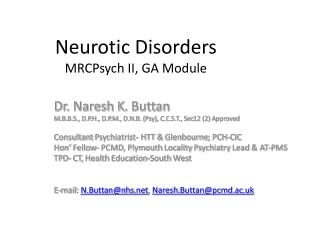 Neurotic Disorders MRCPsych II, GA Module