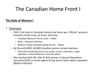 The Canadian Home Front I