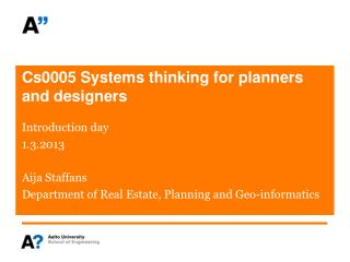 Cs0005 Systems thinking for planners and designers