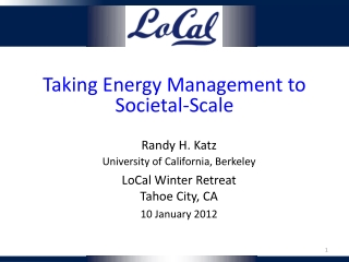 Taking Energy Management to Societal - Scale