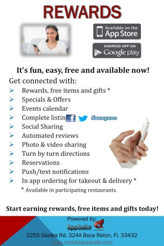 It's  fun, easy, free and available now!  Get connected with: Rewards, free items and gifts * Specials & Offers Events