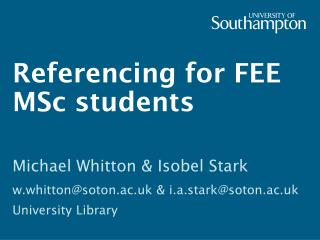 Referencing for FEE MSc students