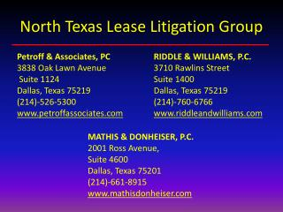 North Texas Lease Litigation Group