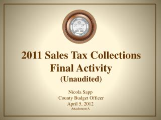 2011 Sales Tax Collections Final Activity (Unaudited)