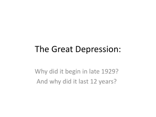The Great Depression: