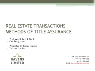 REAL ESTATE TRANSACTIONS METHODS OF TITLE ASSURANCE