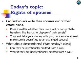 Today's topic: Rights of spouses
