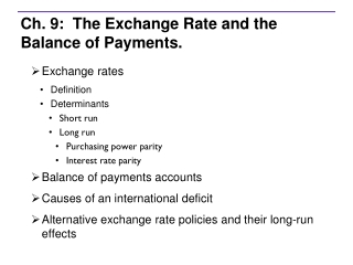 Ch. 9:  The Exchange Rate and the Balance of Payments.