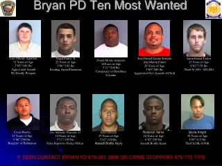 Bryan PD Ten Most Wanted