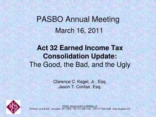 PASBO Annual Meeting March 16, 2011