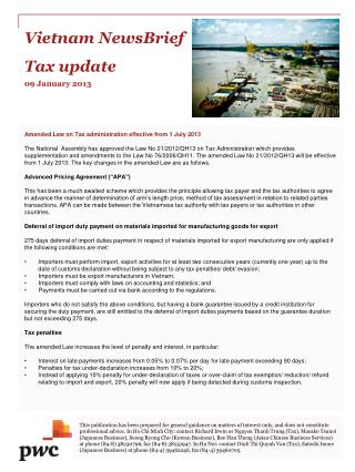 Vietnam New sBri ef Tax  update 09 January 2013