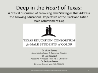 Dr. Victor Saenz Associate Professor & Executive Director Dr. Luis Ponjuan Associate Professor, Texas A&M University Dr