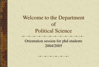 PhD orientation