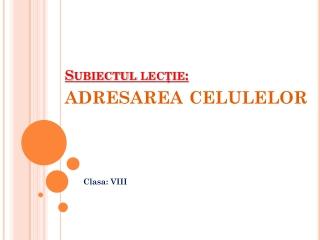 Subiectul lec?ie:  adresarea celulelor