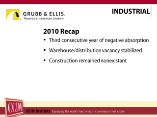 2010 Recap Third consecutive year of negative absorption Warehouse/distribution  vacancy stabilized Construction remain
