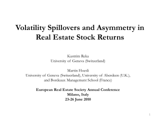Volatility Spillovers and Asymmetry in Real Estate Stock Returns