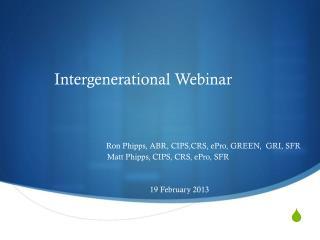 Intergenerational Webinar