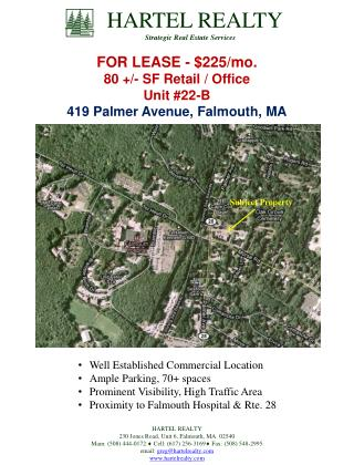 FOR LEASE - $225/mo. 80 +/- SF Retail / Office Unit #22-B 419 Palmer Avenue, Falmouth, MA