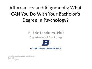 Affordances and Alignments: What CAN You Do With Your Bachelor's Degree in Psychology?