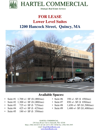 FOR  LEASE Lower Level Suites 1200 Hancock Street,  Quincy, MA