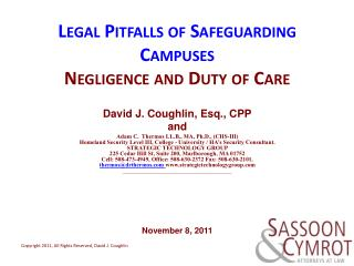 Legal Pitfalls of Safeguarding  Campuses Negligence and Duty of Care