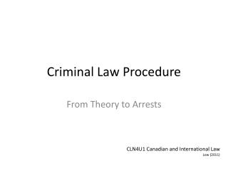 Criminal Law Procedure