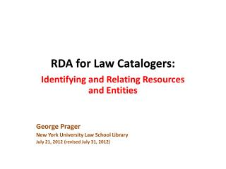 RDA for Law Catalogers: