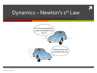 Dynamics – Newton's 1 st  Law