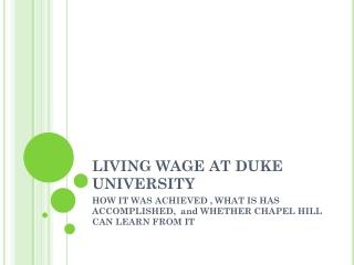 LIVING WAGE AT DUKE UNIVERSITY