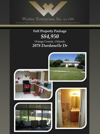 Full Property Package $84,950 Orange County, Orlando 2078 Dardanelle Dr
