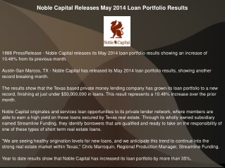 Noble Capital Releases May 2014 Loan Portfolio Results
