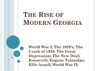 The Rise of Modern Georgia