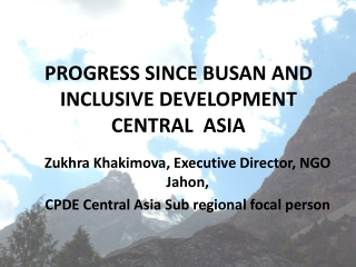 PROGRESS SINCE BUSAN AND INCLUSIVE DEVELOPMENT CENTRAL  ASIA