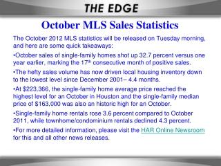 October MLS Sales Statistics