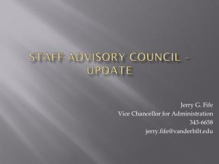 Staff Advisory Council – Update